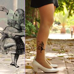 Alice in  WONDERLAND /  Tattoo Leggings  - size  - S / M / L / XL   full length - Gray , Light Mocha, Nude or Pink on Etsy, $18.00