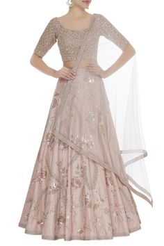 Buy Aari and cutdana embroidered lehenga set by Shlok Design at Aza Fashions Pakistani Wedding Outfits, Indian Bridal Outfits, Indian Bridal Fashion, Indian Designer Outfits, Designer Dresses, Designer Lehnga Choli, Designer Sarees Wedding, Simple Kurti Designs, Choli Designs