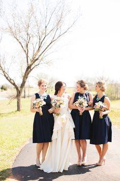 navy bridesmaids dresses // photo by EE Photo // View more: http://ruffledblog.com/sweet-oklahoma-wedding/