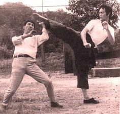 Bruce Lee in The Big Boss behind scene. Martial arts legend