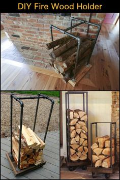Build a fire wood holder from plumbing pipes - 22 Beautiful Diy Firewood Storage Inspiration Outdoor Firewood Rack, Firewood Holder, Firewood Shed, Firewood Storage, Stacking Firewood, Wood Holder For Fireplace, Wooden Fireplace, Fireplace Design, Easy Woodworking Projects