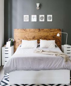 Bedroom Inspiration. Wooden Headboard, light linens #ClippedOnIssuu from Bungalow Magazine Winter 2014