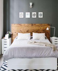 Bedroom Inspiration. Wooden Headboard, light linens #ClippedOnIssuu from Bungalow Magazine Winter 2014