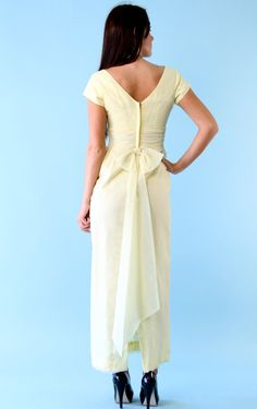 Vintage Lemon Cream Chiffon Bow Dress s 1960s Dreamy Yellow Maxi Floor Length Gown on Etsy, $112.00