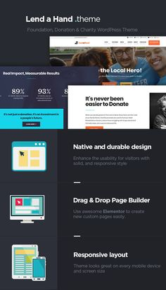 Buy Lend a Hand - Foundation & Charity WordPress Theme by Dannci on ThemeForest. Online Documentation Lend a Hand – A neat, social program WordPress theme with a solid, durable and functional desig. Wordpress Premium, Charity Organizations, Responsive Layout, People In Need, Website Template, Helping People, Wordpress Theme, Fundraising, Foundation