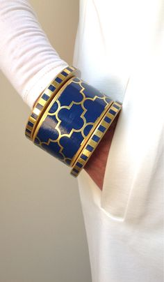 Navy cuff bangle bracelet by Chauci Charvet
