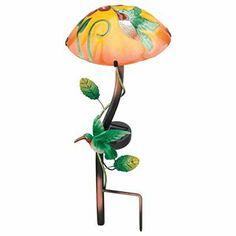 Hummingbird Mushroom Solar Garden LED Light - Metal & Glass Yard Decoration 1 of 1