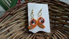 Orange handmade quilled earring