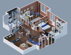 Home plans brick layout 35 Ideas for 2019 3d House Plans, Ranch House Plans, Bedroom House Plans, Apartment Layout, Apartment Design, Bedroom Apartment, Home Design Plans, Plan Design, Design Ideas