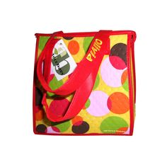 Happy fun bright color dots on yellow with red handles and trims. Personalized  Insulated lunch tote bags.