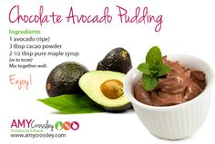 Chocolate Avocado Pudding  #healthydessert #chocolate Pudding Ingredients, Avocado Pudding, Pure Maple Syrup, Cacao Powder, Nutrition, Pure Products, Chocolate, Desserts, Kids