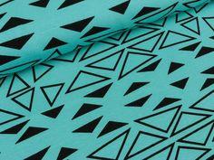 Baumwolljersey Malo Ungleiche Dreiecke schwarz auf Türkis | Das hüpfende Komma