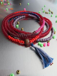 Boho Beads Color Block Strand Tassel Necklace Long Red Beaded Necklace Yogi Beads Gift for Yoga Lover Bohemian Unisex Beads Bright Colors