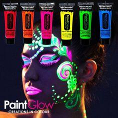 Deze Neon Glow bodypaint is een goed smeerbare en snel drogende UV verf / schmink die geweldig oplicht bij blacklight, geschikt voor lichaam en gezicht. 6 tubes met verschillende kleuren.