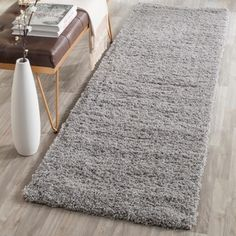Safavieh Hand-tufted Malibu Shag Silver Polyester Rug (2'3 x 7') | Overstock.com Shopping - The Best Deals on Runner Rugs