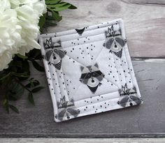 Quilted Coaster Set, Raccoon Fabric Coasters