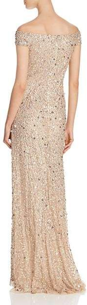 Adrianna Papell Off-the-Shoulder Sequined Gown Women - Bloomingdale's Metallic Wedding Dresses, Gowns Online, Adrianna Papell, Fabric Design, Off The Shoulder, Fashion Outfits, Formal Dresses, Sexy, Model