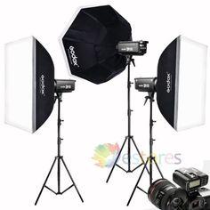 Godox DP800II 3x800W 2.4G Wireless Strobe Flash Light Softbox Trigger Studio Kit