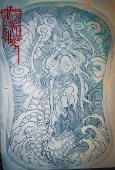 Japanese Tatto, Tattoos, Artwork, Buddha, Dragon, Tapestry, Design, Style, Hanging Tapestry