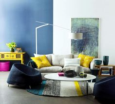minimalist living room with Color coding