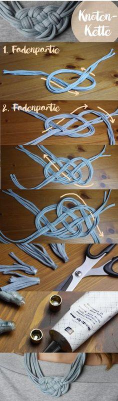 Diese Statement-Kette ist aus Textilgarn (hoooked zpagetti) und ganz schnell gemacht. Alles was ihr braucht ist Textilgarn, einen Schmuckverschluss und Textilkleber. Die ausführliche Anleitung findet ihr hier: http://omniview.jimdo.com/2016/10/21/knoten-kette/   This statement necklace is made out of textile yarn like hoooked zpagetti . It's pretty easy to make. All you need is textile yarn, jewellery clasp and jewellery glue. http://omniview.jimdo.com/2016/10/21/knoten-kette/
