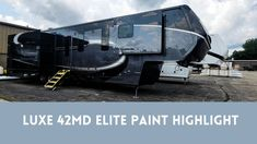 Check out this video of our Full Automotive Grade Paint! This Luxe 42MD Elite is glossy & gorgeous and will be for years to come. Luxury Fifth Wheel, Fifth Wheel Toy Haulers, Vintage Travel Trailers, 5th Wheels, Paint Schemes, Train, Vehicles, Painting, Check