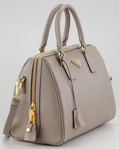 Prada Saffiano Shoulder-Strap Bowler Bag, Gray - Neiman Marcus - Bags and Purses 👜 Prada Handbags, Fashion Handbags, Purses And Handbags, Fashion Bags, Leather Handbags, Prada Bag, Handbags For Women, Prada Backpack, Women Bags