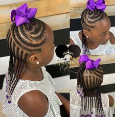 All styles of box braids to sublimate her hair afro On long box braids, everything is allowed! For fans of all kinds of buns, Afro braids in XXL bun bun work as well as the low glamorous bun Zoe Kravitz. Box Braids Hairstyles, Little Girl Braid Hairstyles, Half Braided Hairstyles, Girls Natural Hairstyles, Baby Girl Hairstyles, Natural Hairstyles For Kids, My Hairstyle, Natural Hair Styles, Hairstyle Ideas
