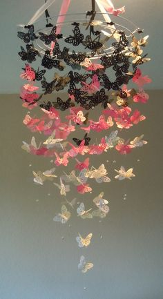 Parisian+Bebe++Monarch+Butterfly+Chandelier+by+BellesNurseryDecor,+$60.00  Soo pretty! Want this in blue instead of pink.
