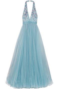 Jenny Packham-Embellished tulle halterneck gown