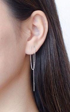 Jewels: silver, sterling silver, dainty jewelery, delicate jewellery, silver earrings, thread earrings, minimalist jewelry, earrings, jewelry - Wheretoget