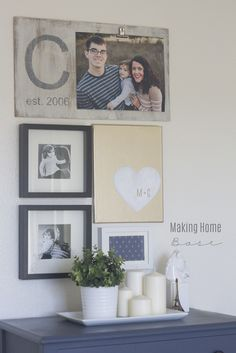 DIY small gallery wall with monogram photo board on Capturing-Joy