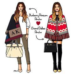 Poncho is ❤️❤️❤️ #GirlsinBloom #illustration #fashionillustration #art_fashion #art #burberry #chanel #itgirl #fashionweek #lookoftheday #picoftheday #иллюстрация #пончо #ноябрь #осень #выходные #мастхев #москва