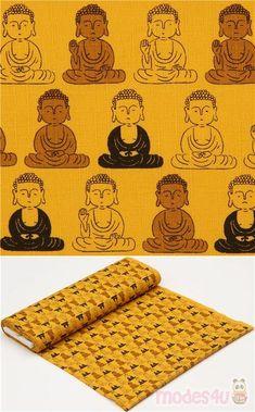mustard yellow dobby fabric with Buddha pattern, Material: cotton, Fabric Type: strong dobby fabric, Pattern Repeat: ca. Dobby Fabric, Echino, Kawaii, Japanese Fabric, Weaving Techniques, Mustard Yellow, Fabric Patterns, Cosmos, Colors