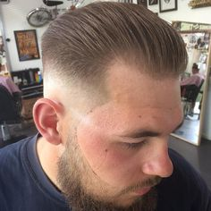 Keeping it tight for Connor To schedule an appointment hit the link in my bio, please be aware it's a busy time, so try to book a week ahead if you can! Thanks! #menshair #menshaircut #mensgrooming #beard #lineup #skinfade #baldfade #slickback...
