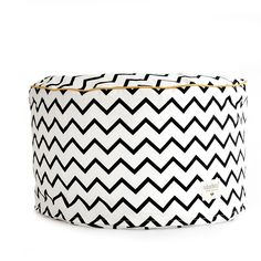 Morrocan pouffe for kids in black and white zig zag fabric
