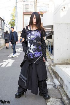 Kyouka on the street in Harajuku wearing a visual kei / gothic inspired style featuring items from Sex Pot Revenge, h.NAOTO, Sixh, and Yosuke