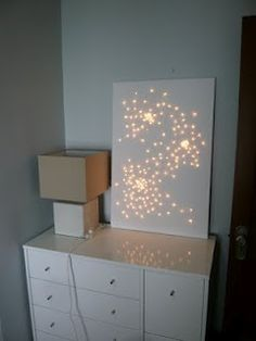 Canvas art with Christmas lights!