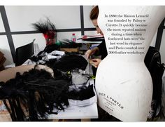 MAISON LEMARIÉ    Craftswomen prepare black feathers to be applied to a Chanel Haute Couture Fall 2014 collection look.  3-exclusive-making-of-chanel-couture-fall-2014-maison-lemarie-EN