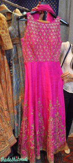 Anita Dongre - Fuchsia Pink Gota Patti Anarkali Gown - Vogue Wedding Show 2015