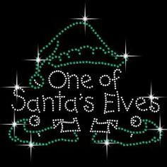 Santa's Elf Iron On Bling Rhinestone Transfer