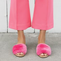 Loeffler Randall Isabel Slip-On Flat Slide in Peony pink shearling Cool Slides, Fur Slides, Everything Pink, Loeffler Randall, Pink Fashion, Women's Fashion, My Wardrobe, Timeless Fashion, Pretty In Pink