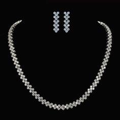 74563edf90 Italian Style Cubic Zirconia Necklace, Pave Wedding Necklace, Bridesmaid  Gift Wedding Jewelry Sets,