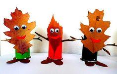 Blättermännchen - Natur Basteln - My grandchildren and I - Made with schwedesign . Kids Crafts, Easy Fall Crafts, Fall Crafts For Kids, Art For Kids, Diy And Crafts, Arts And Crafts, Bricolage Halloween, Halloween Crafts, Fall Art Projects