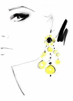 """fashion illustrations by kornelia dębosz — """"Femme Affair"""" inspiration: a photo by Terence. Jewelry Illustration, Beauty Illustration, Drawing Sketches, Art Drawings, Art Graphique, Mellow Yellow, Fashion Sketches, Fashion Drawings, Illustrations Posters"""