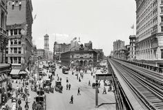 Herald Square, Broadway at 34th St. NYC 1908, showing Sixth Avenue elevated tracks looking north toward Times Square.