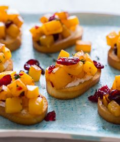 Butternut Squash, Cranberry and Goat Cheese Crostini recipe. Mmmm.