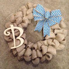 Chevron Burlap Wreath with Monogram- Front Door Wreath- Year Round Wreath- Initial Wreath- Winter Wreath- Spring wreath- Baby shower gift on Etsy, $46.00