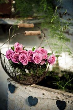 Lovely Roses. Basket, Hearts...