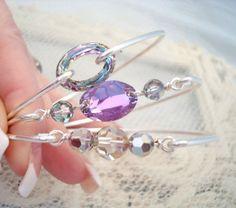 Sterling silver bangle bracelet SET Swarovski by treasures570